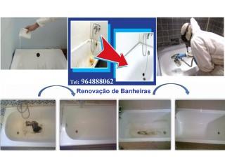 Recuperação de banheiras: restauro, esmaltagem, vitrificação.